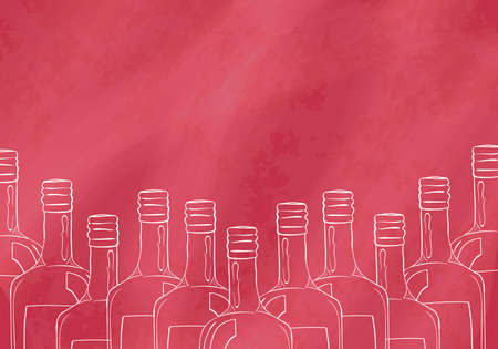 bebidas alcoh�licas: Background with hand drawn bottles for the bar, restaurant or cafe visitors that sell alcoholic beverages. Vector illustration Vectores
