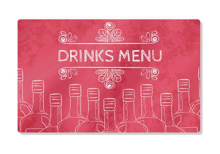 bebidas alcoh�licas: Tarjeta de visita o barra de men�, restaurante o cafeter�a visitantes que venden bebidas alcoh�licas. ilustraci�n vectorial Vectores