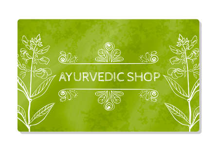 retail therapy: Business card showcase or Ayurvedic shop. Vector illustration Illustration