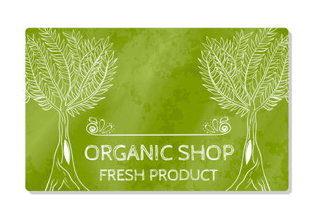 Business card or storefront selling fresh organic food. Shop. Vector illustration Çizim