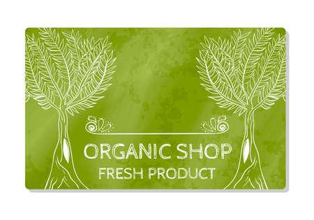 Business card or storefront selling fresh organic food. Shop. Vector illustration Illustration