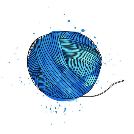 Vector illustration of a ball of blue yarn for knitting. It can be used as poster, postcard invitation. Designer the attribute to create wool. Vector illustration