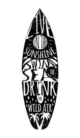 Ilustración de vector de tablero que practica surf. Se puede utilizar como póster, invitación postal. Ilustración vectorial Foto de archivo - 57916589