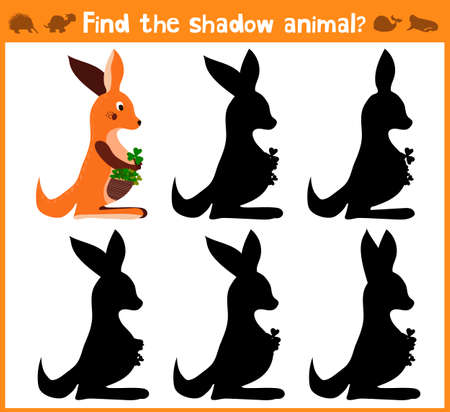 wallaby: Cartoon vector illustration of education will find appropriate shadow silhouette animal kangaroo. Matching game for children of preschool age. Vector illustration