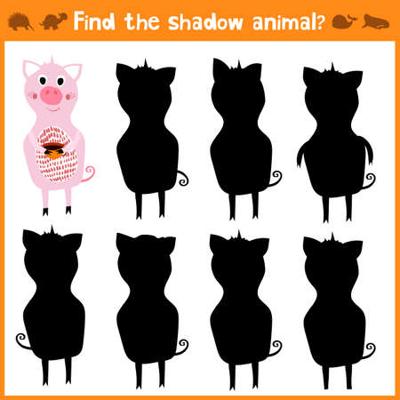 appropriate: Cartoon vector illustration of education will find appropriate shadow silhouette animal pig. Matching game for children of preschool age. Vector illustration