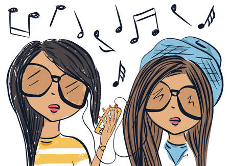 chanson: Fun fashionable girl friend. Fashion girls. Audiophiles. Vector illustration