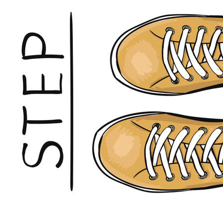 Colorful illustration style hand drawn with sports shoes. The business concept take the next step. Vector illustration Illustration