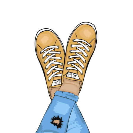 torn jeans: Summer trendy sports shoes. Feet in sports shoes sneakers. Man in torn jeans and sneakers resting. Vector illustration