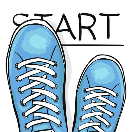 to move forward: Summer trendy sports shoes. Feet in athletic shoes sneakers begin to move forward. The business concept. Vector illustration