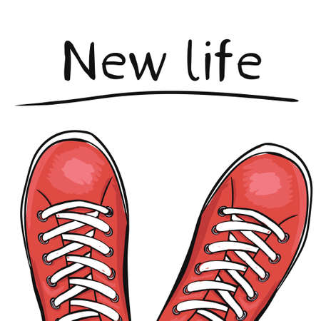feature: Summer trendy sports shoes. Feet in sport shoes the sneakers before you feature a new life. Vector illustration