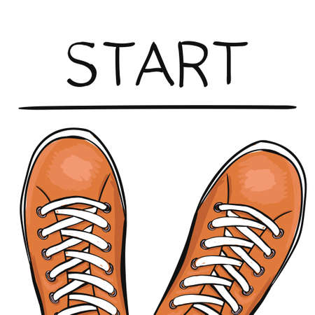 sports shoe: Summer trendy sports shoes. Foot in the sports Shoe sneakers before the feature start. Vector illustration Illustration