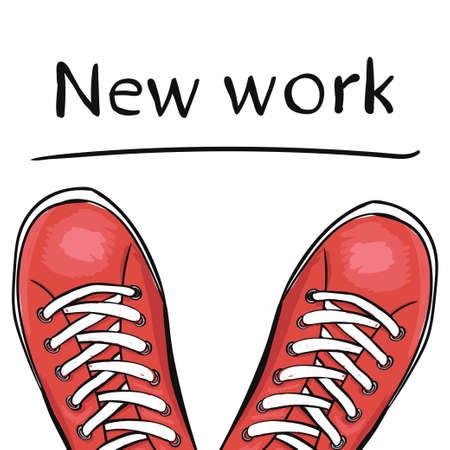 Zomer trendy sportschoenen. Voeten in sportschoenen de sneakers voordat u selecteert een nieuwe baan. vector illustratie