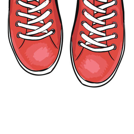 red shoes: Summer trendy sports shoes. Red shoes. Vector illustration