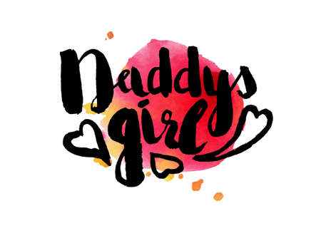 sweetheart: Colorful illustration style drawn hand with watercolor stains. Sweetheart lettering picture daddys girl. Vector illustration Illustration