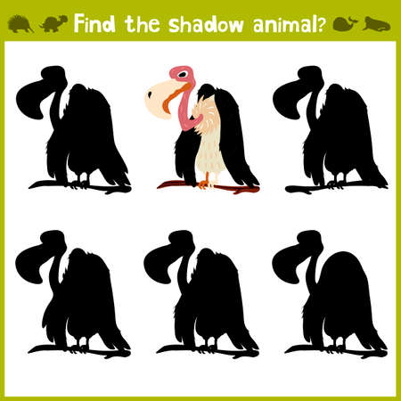 Gioco educativo per i bambini di scuola materna e in età scolare sullo sviluppo della logica. avvoltoio. illustrazione di vettore Vettoriali