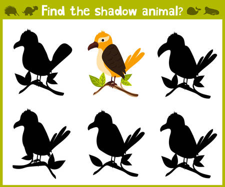 logic: Educational game for children of kindergarten and school age on the development of logic. Tropical bird. Vector illustration