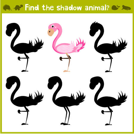 school age: Educational game for children of kindergarten and school age on the development of logic. Flamingo. Vector illustration