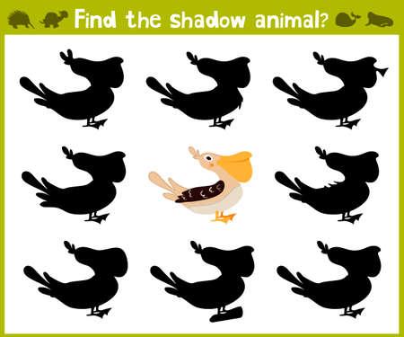 school age: Educational game for children of kindergarten and school age on the development of logic. Pelican bird. Vector illustration Illustration