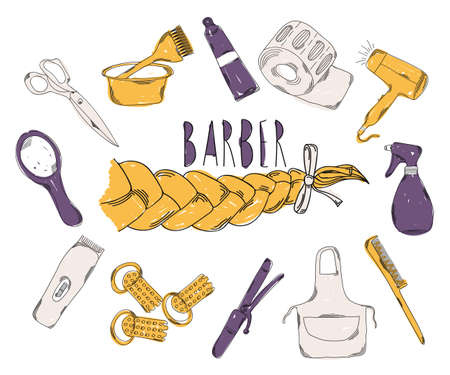 set of men hair styling: Colourful childrens illustration with a pencil. The collection of linear hand drawn icons. Icons Barber tools. The beauty industry. Vector illustration