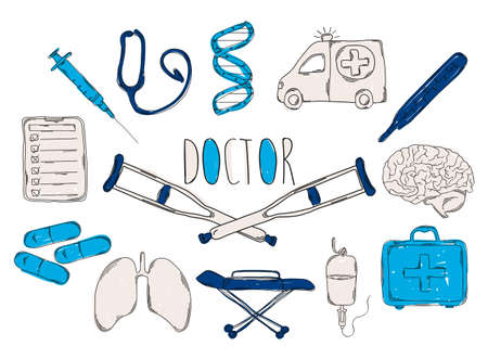 children's doctor: Colourful childrens illustration with a pencil. The collection of linear hand drawn icons. Icons tools the doctor. Vector illustration