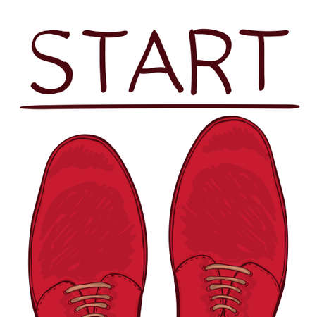 starting a business: Business concept starting trait. Feet in male shoes on the road. Make a choice. Vector illustration
