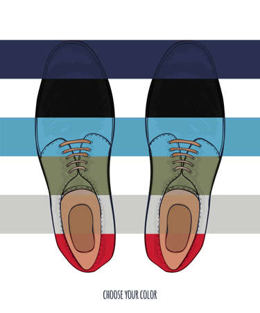 Advertising men shoes different colors. Business style in clothes. Vector illustration Illustration