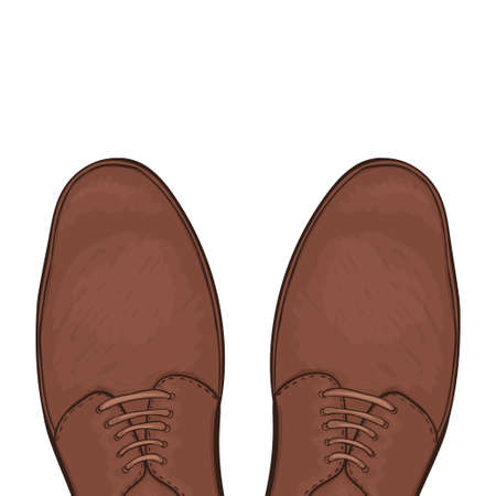 brawn: Feet in male shoes on the road. Vector illustration