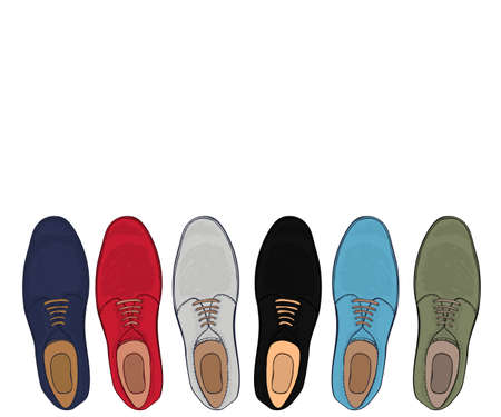 a place for the text: Advertising mens shoes assorted colors and sizes with a place for text. Business style in clothes. Vector illustration
