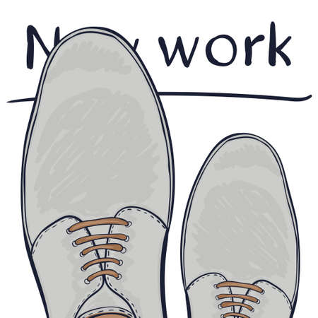 make a choice: Business concept a new job. Feet in shoes on the road. Make a choice. Vector illustration