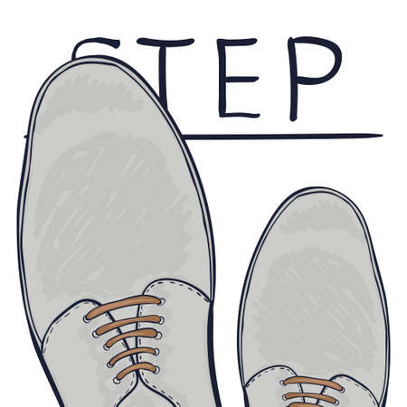 make a choice: The business concept take the next step. Feet on the road. Make a choice. Vector illustration Illustration