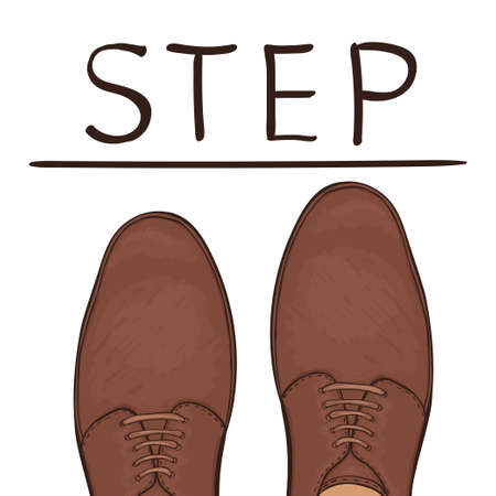 The business concept take the next step. Feet on the road. Vector illustration