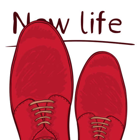 Business concept new life. Feet on the road. Make a choice. Vector illustration