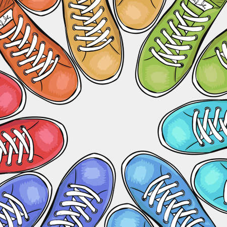 sportingly: Sportingly colorful poster to advertise sports shoes. Vector illustration