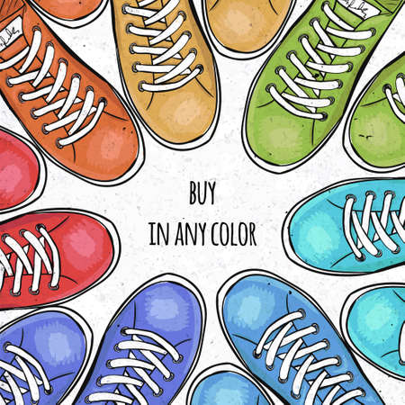 sportingly: Sportingly colorful poster to advertise sports shoes. Buy sneakers in any color. Vector illustration