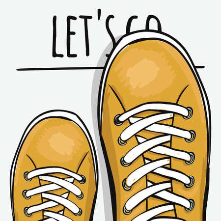 Sportend kleurrijk poster om sportschoenen te adverteren. Vooruit. Vector illustratie