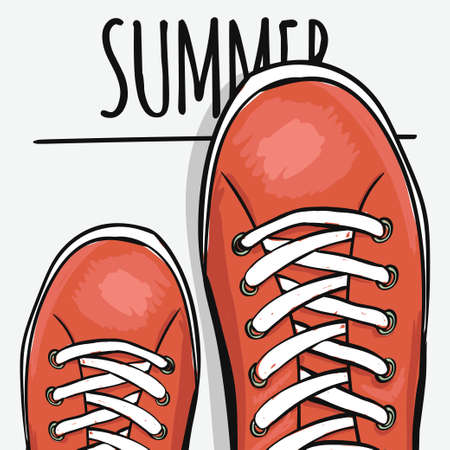 sportingly: Sportingly colorful poster to advertise sports shoes. Go in the summer. Vector illustration Illustration
