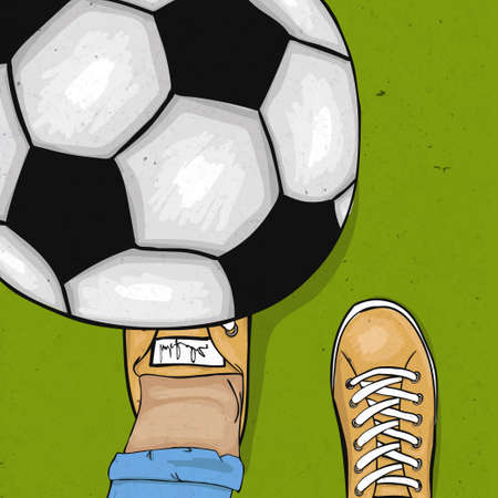 foot ball: The player throws and gets his foot on the ball. The sports poster. Vector illustration Illustration