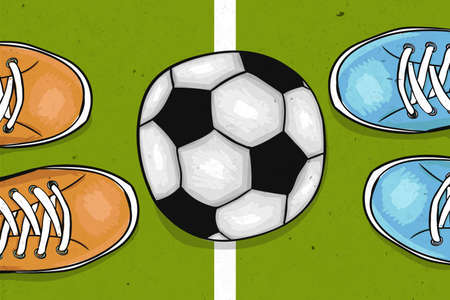 Football field with ball in the center. The sports poster. Vector illustration
