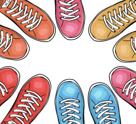sportingly: Sportingly colorful poster to advertise sports shoes.Background with sneakers. Vector illustration Illustration