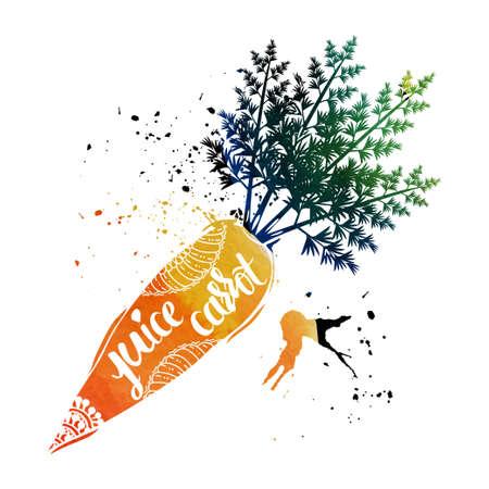 carrot juice: Vegan diet food. Cleansing of the body. Carrot juice. Illustration