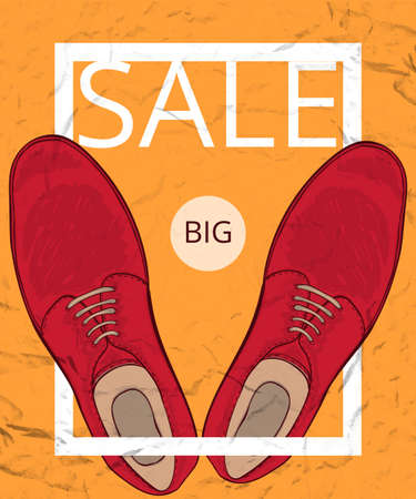 aged paper: A poster on aged paper. Great discounts on mens shoes. Shoes. Vector illustration Illustration