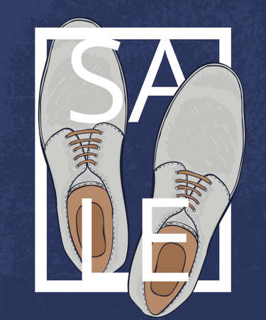 men's shoes: A poster on aged paper. Great discounts on mens shoes. Advertising business shoes. Vector illustration Illustration