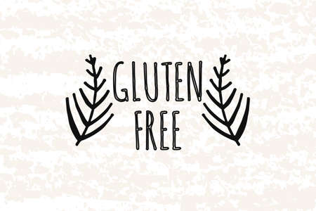 celiac: in the style of hand drawn. Hand drawn elements in the decorative frame gluten free. Fresh, organic ingredients. Sticker, badge, card for production in print and stores. Vector illustration Illustration
