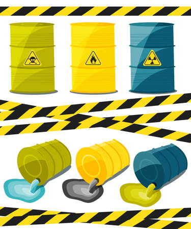 chemical hazard: Containers with explosive and reactive substances, waste of chemical industry. Flow of dangerous toxic chemicals. Oil. Vector illustration