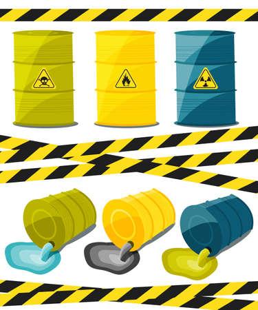 riesgo quimico: Los contenedores con sustancias explosivas y reactivas, desechos de la industria química. Flujo de productos químicos tóxicos peligrosos. Petróleo. ilustración vectorial