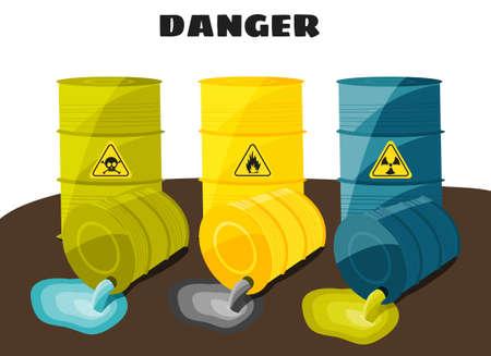symbole chimique: Les déchets découlent des barils avec le signe de danger. Vector illustration