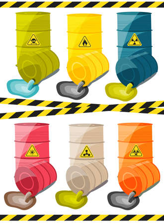 hazardous waste: Toxic chemicals leak out of the container with the sign dangerous. Vector illustration