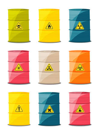 substances: Containers with explosive and reactive substances, waste of chemical industry. Vector illustration