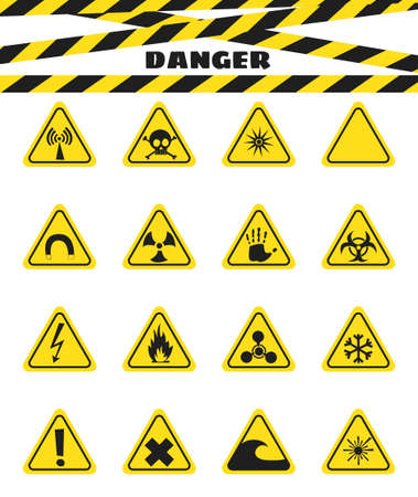 flammable warning: Signs warning of the danger from explosives and flammable liquids, the presence of magnetic field and radiation. Dangerous. Vector illustration