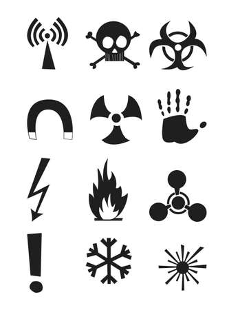 plutonium: Signs of chemical effects on human, radiation, radiation and explosives. Icons. Vector illustration Illustration